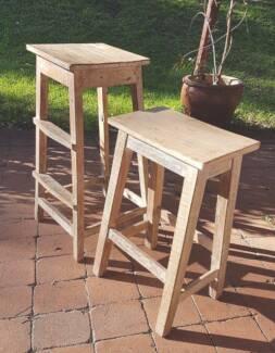 2 x Timber stools whitewashed