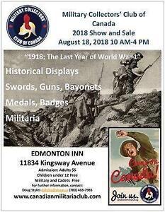Militaria Show & Sale August 18th Edmonton Inn