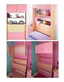 Girls Pink Wardrobe, Overbed Unit & Bedside Drawers