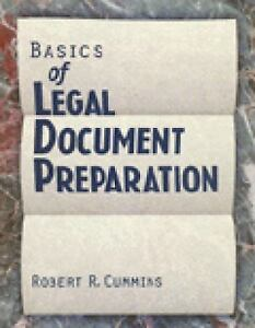 Basics of Legal Document Preparation by Robert R  Cummins (1996, Paperback)