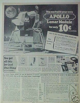 1969 Apollo Lunar Module Space Spaceman Model Kit Moon Spacecraft Memorabilia Ad