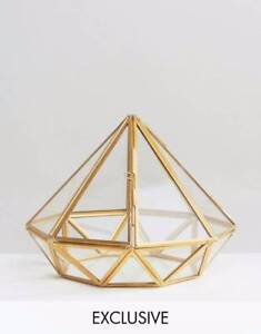 RRP$60 Gold Metal Glass Diamond Terrarium Jewellery Holder ASOS Strathmore Moonee Valley Preview