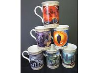 LORD OF THE RINGS - LIMITED EDITION COLLECTION OF 6 DANBURY MINT FINE ENGLISH BONE CHINA MUGS