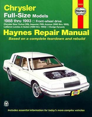 Repair Manual Book Dodge Dynasty Chrysler New Yorker