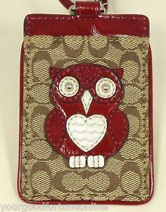 NWT-Coach-Signature-Owl-Lanyard-Id-Card-Badge-Holder-Case-61121-Khaki-Red-Multi