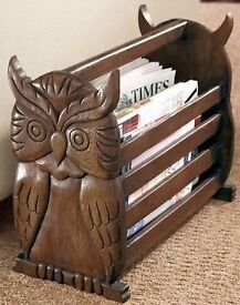 GREAT XMAS/BIRTHDAY IDEA - LOVELY FAIRTRADE Handcrafted Rustic Owl Paper / Magazine Rack - BOXED