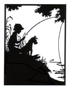 Silhouette Boy & Dog Fish Unmounted Clear Polymer Stamp