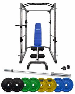 Power Cage Olympic Coloured Bumper 120kg Package NEW