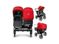 Bugaboo donkey twin push chair Black/Red with rain cover, carry cot and shopping basket