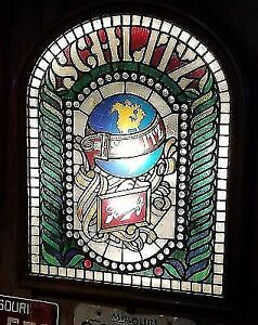 Schlitz vintage beer sign stained glass