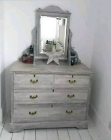 Shabby chic vintage painted grey over white dressing table chest of drawers mirror shelves