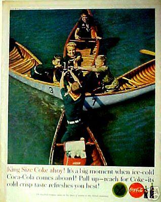 - 1960 Coca-Cola Soda-Pop Boy Scouts Row Boats Coke Cooler Kids Having Fun AD