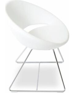 4 CRESCENT WHITE CHAIRS - PRE OWNED - RETAIL 1,200.00