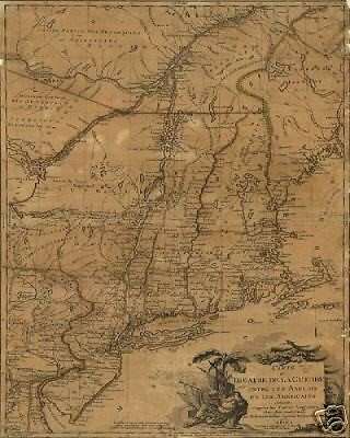 1777 Revolutionary War Battle Theater Old Antique Map