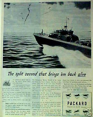 1944 Wwii Packard Car Memorabilia Army Air Force Rescue Boat John Vickery Art Ad