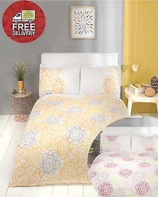 Modern Berries Bedding - Pink Berry or Yellow Ochre Quilt Duvet Cover Bedding Bed Set Floral Sunflower