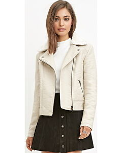 NEW Forever 21 Faux leather jacket Ivory beige fit M chest 37-38