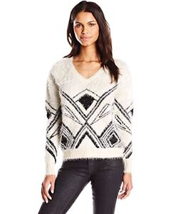 BUFFALO DAVID BITTON BORSETTE FUZZY GEO SWEATER-IVORY-SMALL