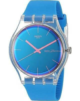 New Swatch Swiss Originals POLABLUE Silicone Blue Date Watch 41mm SUOK711 $80