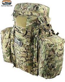 TACTICAL RUCKSACK 90 LITRE ASSAULT BERGEN & SIDE POUCHES MTP BTP BRITISH ARMY