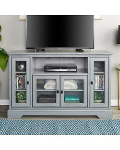 Walker Edison WE Furniture 52 Transitional Glass Wood TV Stand-Antique Grey NEW ** 5 CORNERS FURNITURE **