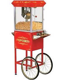 Retro popcorn machine, chocolate fountain & sweet display for hire