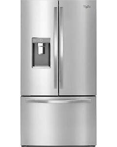 "Whirlpool WRF993FIFM French Door Refrigerator 36"" Thru Door Ice Dispenser  Energy Efficient 31.5 cubic ft Exterior Water"