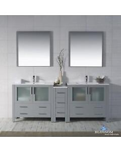 "Mance Modern 84"" Double Bathroom Vanity Set with Mirror by Orren Ellis NEW ** 5 CORNERS FURNITURE **"