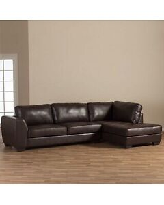 Brown Leather L Shaped Sectional