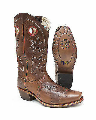 - Double H DH_3586 Antiqued Distressed Brown Leather Square Snip Toe Western Boot