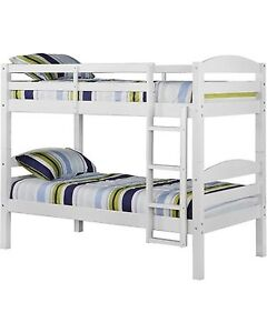 Solid wood white twin bunk beds