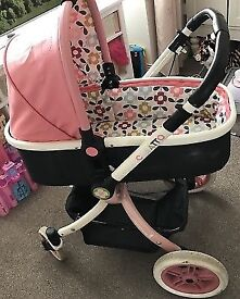 Beautiful pink cosatto ooba 3 in 1 travel system