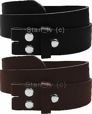 - BROWN BLACK PLAIN LEATHER BELT STRAP SNAP ON NO BUCKLE CASUAL DRESS WOMENS