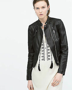 ZARA BLACK LEATHER QUILTED PADDED SHOULDER BIKER MOTO JACKET