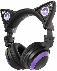 773c3a87893091 Brookstone Wired Purple Cat Ear Headphones With External Speakers ...