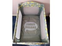 "Mothercare travel cot ""sweet dreams"" plus separate white mattress"