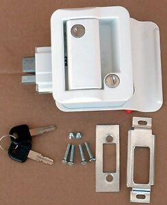White-RV-Entry-Door-Lock-Handle-Knob-w-deadbolt-NEW-FIC-Camper-Trailer