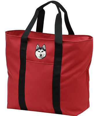 SIBERIAN HUSKY embroidered tote bag ANY COLOR - Embroidered Siberian Husky