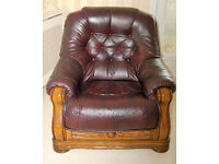 Leather & wood 3 seater sofa + one chair in burgundy