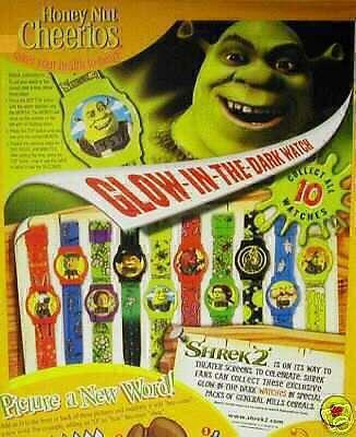 Shrek 2 KID Watch 3 little pigs cereal movie figure toy GM glow in dark box