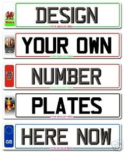 Pair Standard UK Size Number Plates / Show Plates FREE POST