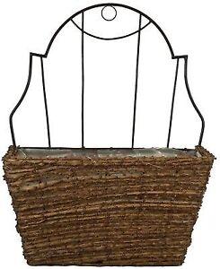 Woven Hanging Wall Planter Basket Wire Rattan Vine Flower Pride