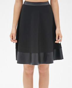 FOREVER 21 Faux Leather-Trimmed Skirt