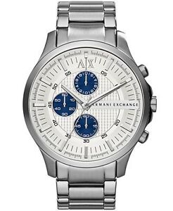 NEW Armani Exchange Chronograph Silver Textured Dial SS watch