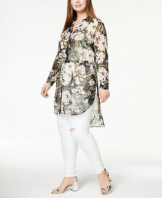 INC Plus Size Sheer High-Low Tunic Olive Drab 1X  _____ B15A2