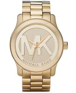 New in box Michael Kors Women's Runway Gold Plated SS watch