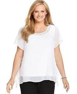 CLEANING MY CLOSET - BRAND NEW WHITE BEADED BLOUSE SZ M/L Kitchener / Waterloo Kitchener Area image 1