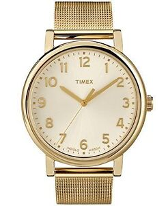 Timex Classics gold mesh stainless steel large women's watch