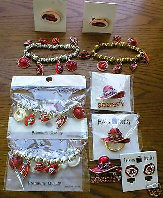 (RED HAT JEWELRY LOT OF 10 PIECES EARRINGS, PINS ETC.,)