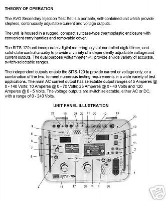 Instruction Manual For Avo Multi-amp Sits-120